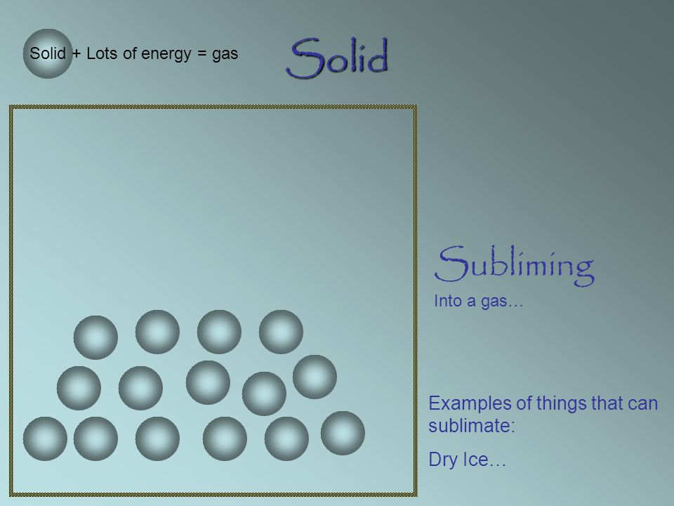 Solid Subliming Into a gas… Solid + Lots of energy = gas Examples of things that can sublimate: Dry Ice…