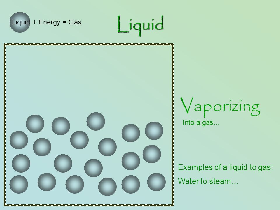 Liquid Vaporizing Into a gas… Liquid + Energy = Gas Examples of a liquid to gas: Water to steam…