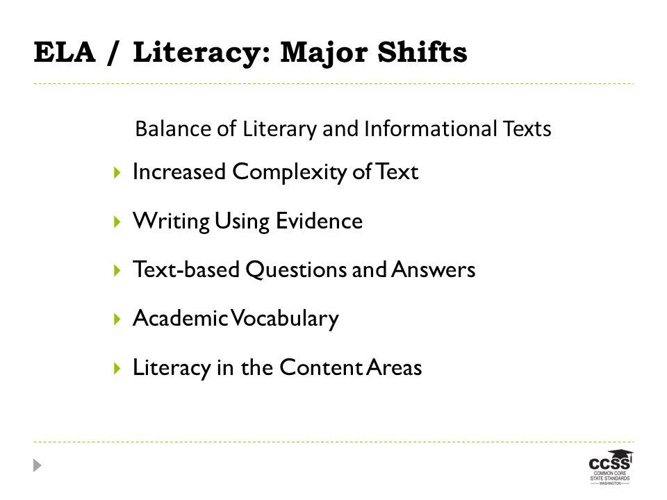 ELA / Literacy: Major Shifts Increased Complexity of Text Writing Using Evidence Text-based Questions and Answers Academic Vocabulary Literacy in the Content Areas Balance of Literary and Informational Texts