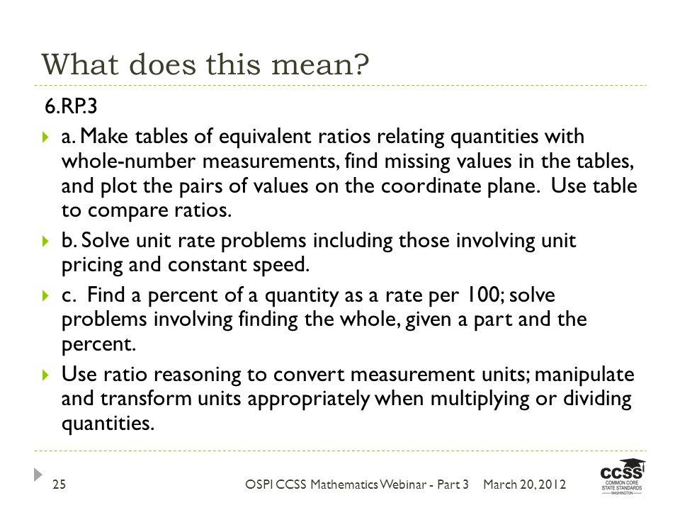 What does this mean. March 20, 2012OSPI CCSS Mathematics Webinar - Part 325 6.RP.3 a.