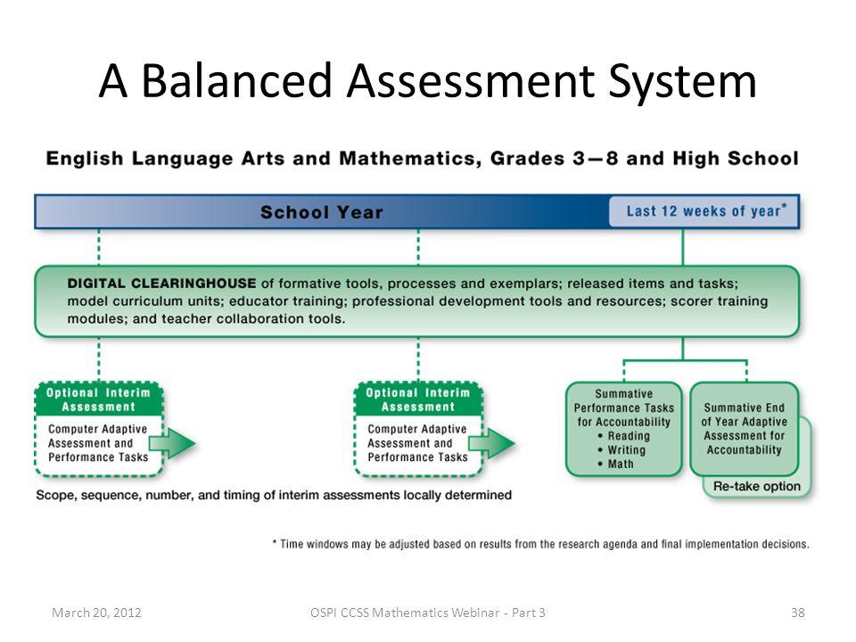 A Balanced Assessment System March 20, 201238OSPI CCSS Mathematics Webinar - Part 3