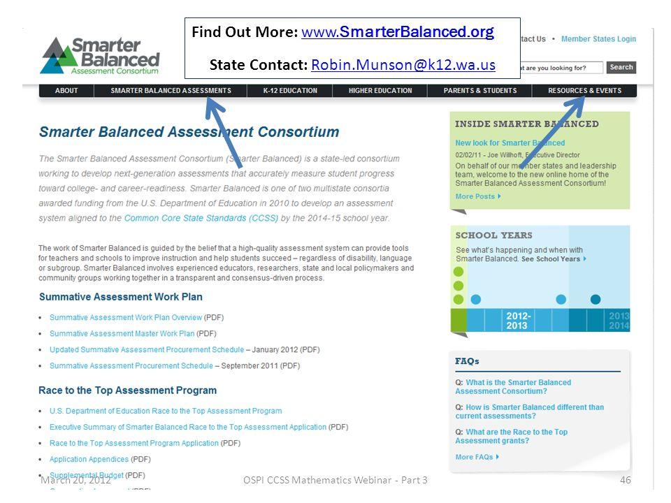 March 20, 2012OSPI CCSS Mathematics Webinar - Part 346 Find Out More: www.