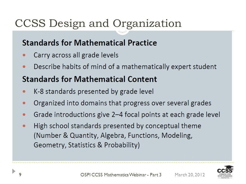 CCSS Design and Organization 9OSPI CCSS Mathematics Webinar - Part 3March 20, 2012