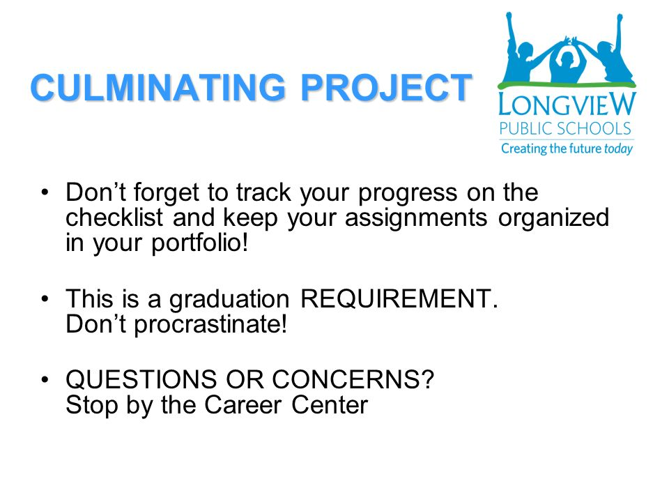 CULMINATING PROJECT Dont forget to track your progress on the checklist and keep your assignments organized in your portfolio.