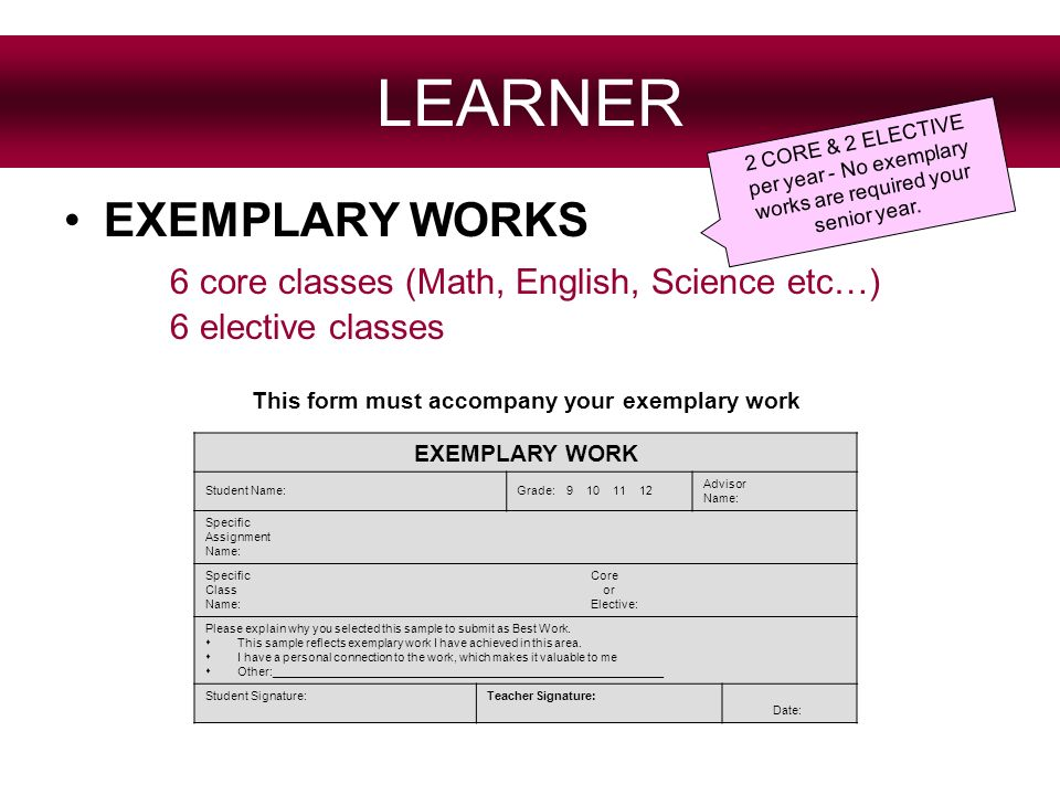 LEARNER EXEMPLARY WORKS 6 core classes (Math, English, Science etc…) 6 elective classes 2 C O R E & 2 E L E C T I V E p e r y e a r - N o e x e m p l a r y w o r k s a r e r e q u i r e d y o u r s e n i o r y e a r.