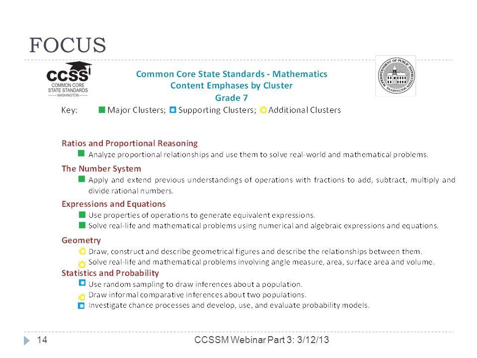 FOCUS CCSSM Webinar Part 3: 3/12/1314