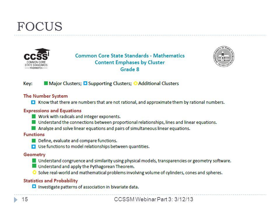 FOCUS CCSSM Webinar Part 3: 3/12/1315