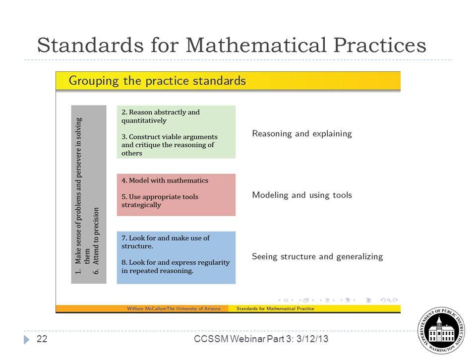 Standards for Mathematical Practices Graphic 22CCSSM Webinar Part 3: 3/12/13