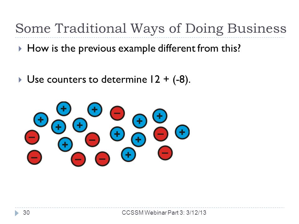 Some Traditional Ways of Doing Business How is the previous example different from this? Use counters to determine 12 + (-8). CCSSM Webinar Part 3: 3/