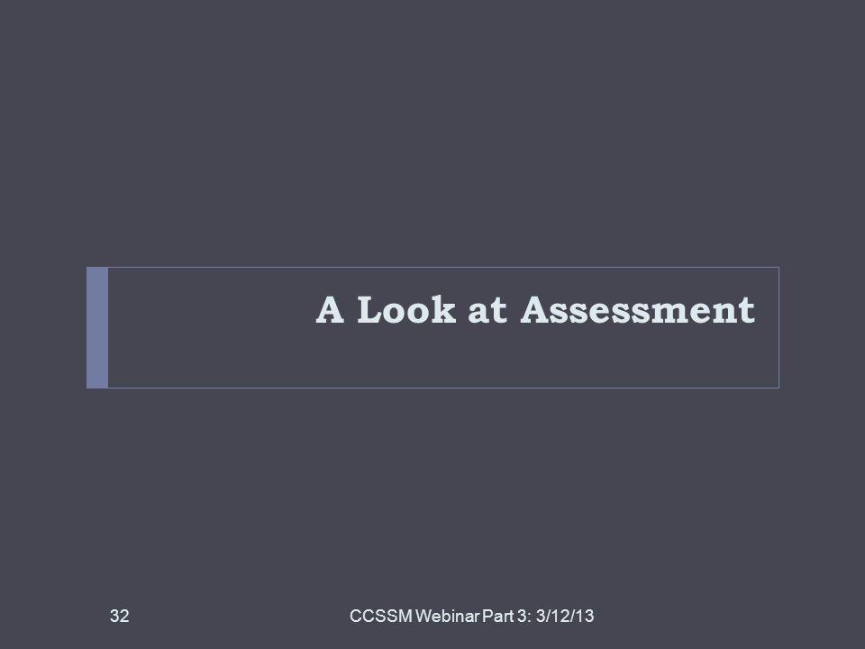 A Look at Assessment CCSSM Webinar Part 3: 3/12/1332