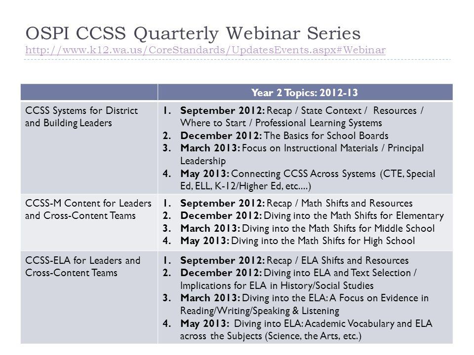 OSPI CCSS Quarterly Webinar Series http://www.k12.wa.us/CoreStandards/UpdatesEvents.aspx#Webinar http://www.k12.wa.us/CoreStandards/UpdatesEvents.aspx