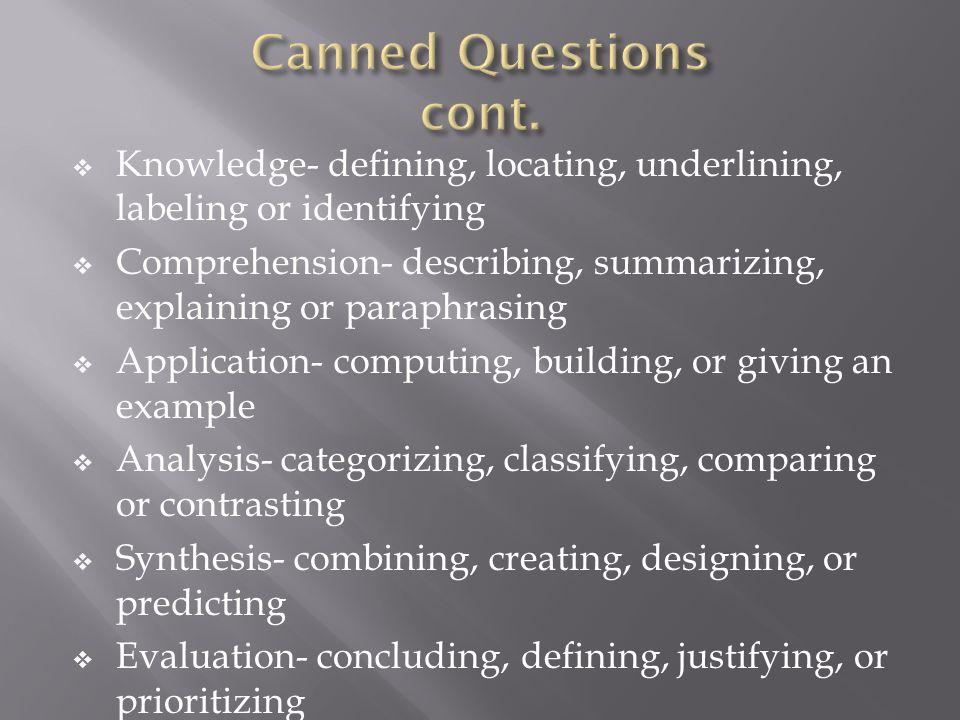 Knowledge- defining, locating, underlining, labeling or identifying Comprehension- describing, summarizing, explaining or paraphrasing Application- co