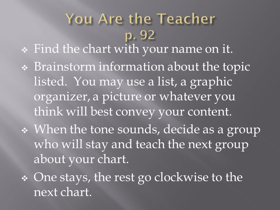 Find the chart with your name on it. Brainstorm information about the topic listed. You may use a list, a graphic organizer, a picture or whatever you