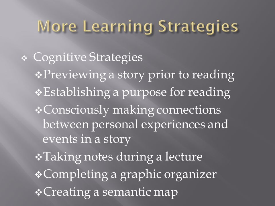 Cognitive Strategies Previewing a story prior to reading Establishing a purpose for reading Consciously making connections between personal experience