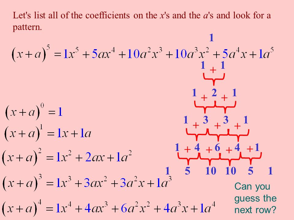 Let s list all of the coefficients on the x s and the a s and look for a pattern.