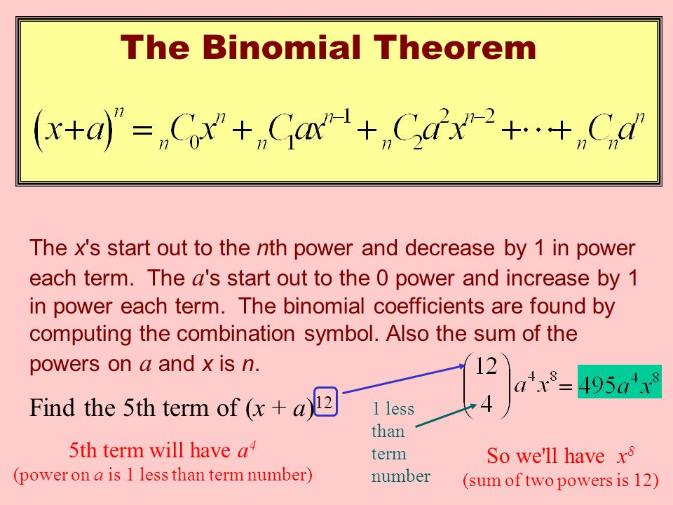 The Binomial Theorem The x s start out to the nth power and decrease by 1 in power each term.