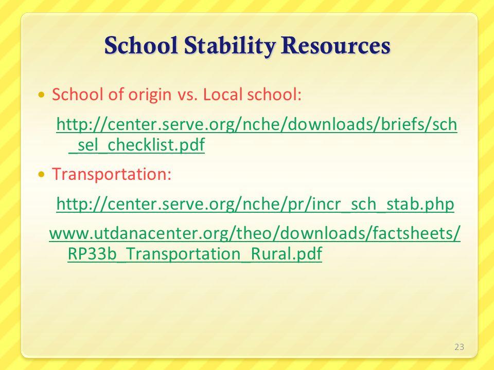 School Stability Resources School of origin vs. Local school: http://center.serve.org/nche/downloads/briefs/sch _sel_checklist.pdf Transportation: htt