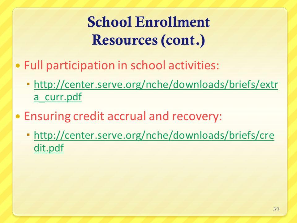 Full participation in school activities: http://center.serve.org/nche/downloads/briefs/extr a_curr.pdf http://center.serve.org/nche/downloads/briefs/e