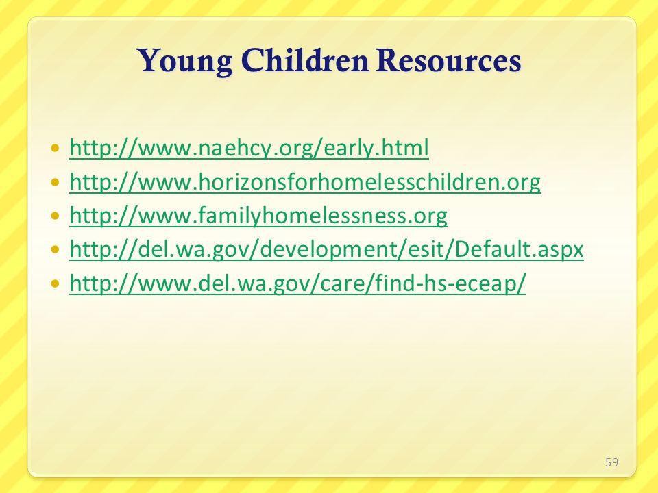 Young Children Resources http://www.naehcy.org/early.html http://www.horizonsforhomelesschildren.org http://www.familyhomelessness.org http://del.wa.g