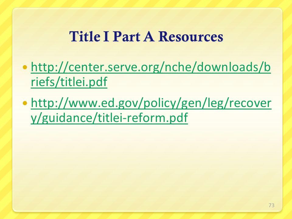Title I Part A Resources http://center.serve.org/nche/downloads/b riefs/titlei.pdf http://center.serve.org/nche/downloads/b riefs/titlei.pdf http://ww