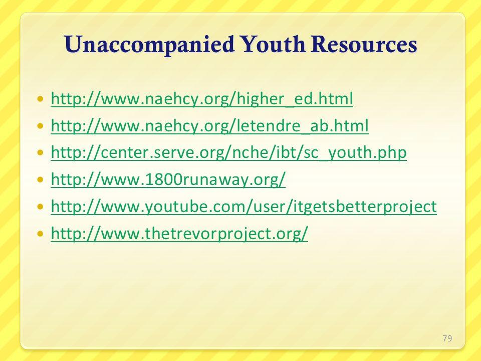 Unaccompanied Youth Resources http://www.naehcy.org/higher_ed.html http://www.naehcy.org/higher_ed.html http://www.naehcy.org/letendre_ab.html http://