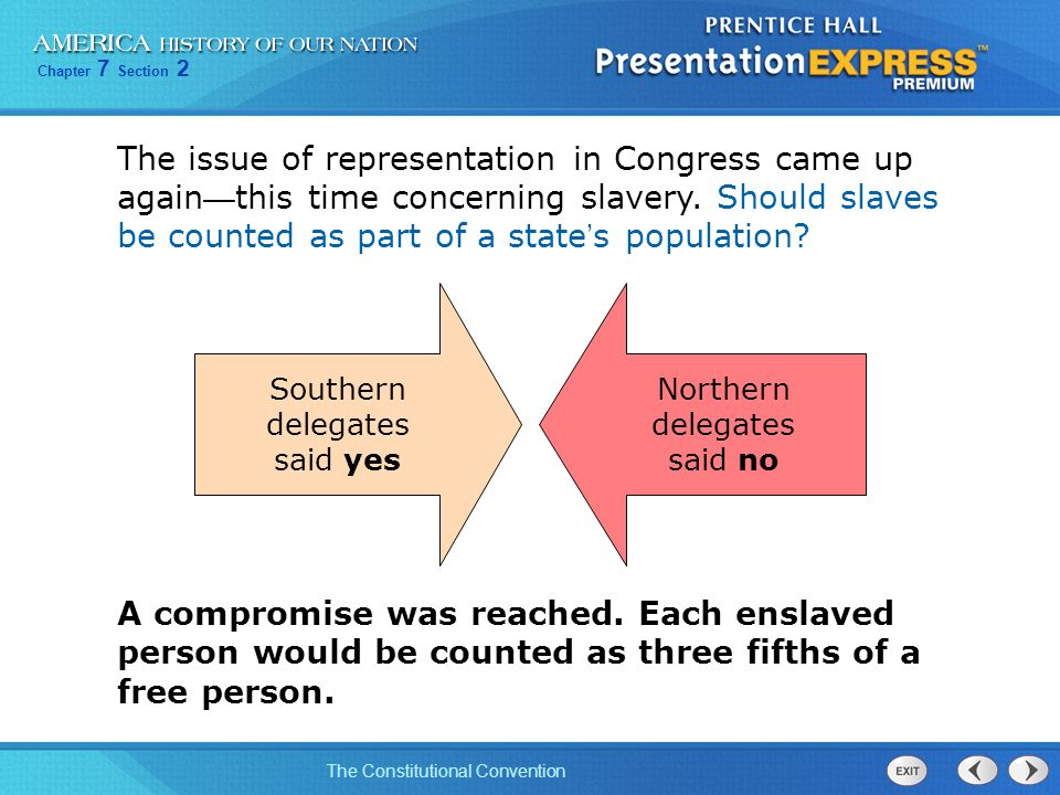 Chapter 7 Section 2 The Constitutional Convention The issue of representation in Congress came up again this time concerning slavery. Should slaves be