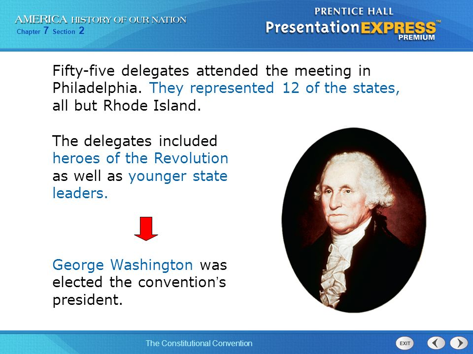 Chapter 7 Section 2 The Constitutional Convention Fifty-five delegates attended the meeting in Philadelphia. They represented 12 of the states, all bu