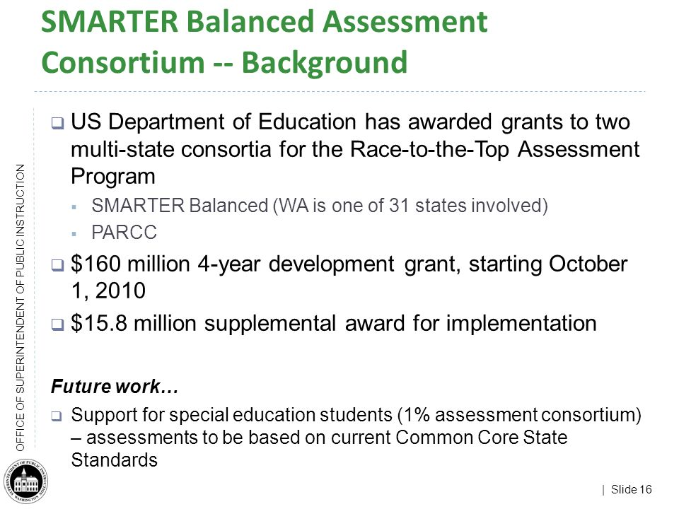 | Slide 16 OFFICE OF SUPERINTENDENT OF PUBLIC INSTRUCTION SMARTER Balanced Assessment Consortium -- Background US Department of Education has awarded grants to two multi-state consortia for the Race-to-the-Top Assessment Program SMARTER Balanced (WA is one of 31 states involved) PARCC $160 million 4-year development grant, starting October 1, 2010 $15.8 million supplemental award for implementation Future work… Support for special education students (1% assessment consortium) – assessments to be based on current Common Core State Standards