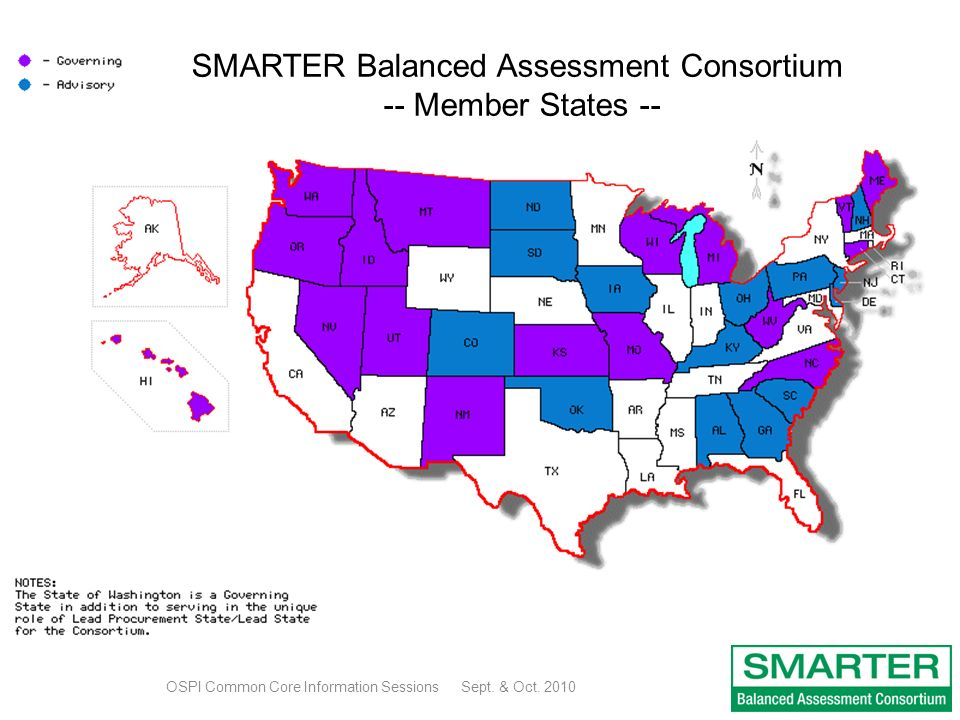 SMARTER Balanced Assessment Consortium -- Member States -- OSPI Common Core Information Sessions Sept.