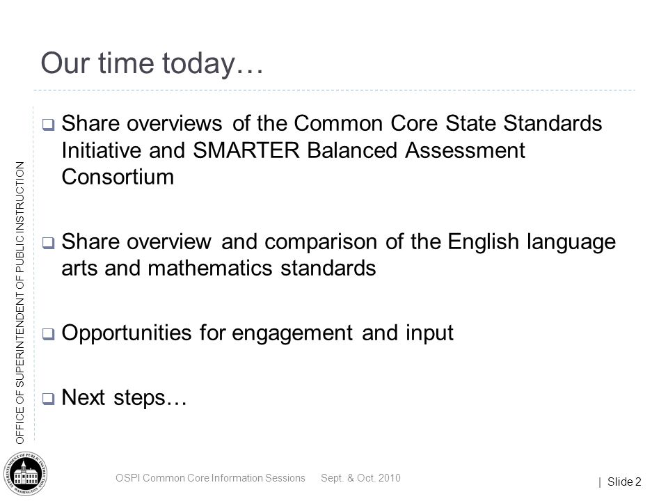 | Slide 33 OFFICE OF SUPERINTENDENT OF PUBLIC INSTRUCTION Key Highlights Reading Balance of literature and informational texts Text complexity Writing Emphasis on writing argumentative, informative/explanatory, and narrative texts Emphasis on research Speaking and Listening Inclusion of formal and informal talk Language Value of general academic and domain-specific vocabulary Emphasis on the conventions of English and the effective use of language OSPI Common Core Information Sessions Sept.