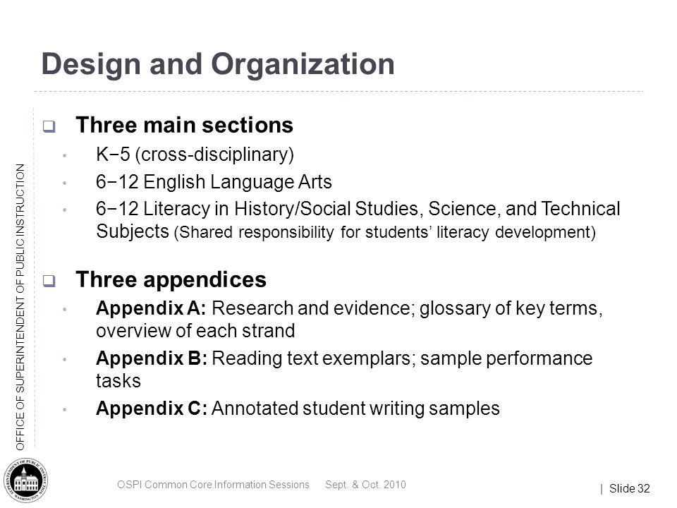 | Slide 32 OFFICE OF SUPERINTENDENT OF PUBLIC INSTRUCTION Design and Organization Three main sections K5 (cross-disciplinary) 612 English Language Arts 612 Literacy in History/Social Studies, Science, and Technical Subjects (Shared responsibility for students literacy development) Three appendices Appendix A: Research and evidence; glossary of key terms, overview of each strand Appendix B: Reading text exemplars; sample performance tasks Appendix C: Annotated student writing samples OSPI Common Core Information Sessions Sept.