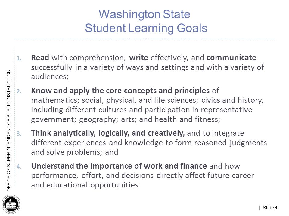 | Slide 45 OFFICE OF SUPERINTENDENT OF PUBLIC INSTRUCTION What does this mean for Washingtons existing Learning Standards.
