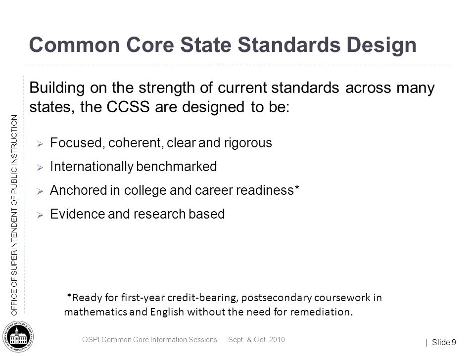 | Slide 30 OFFICE OF SUPERINTENDENT OF PUBLIC INSTRUCTION What do the Standards look like.
