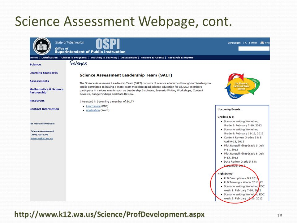 http://www.k12.wa.us/Science/ProfDevelopment.aspx 19 Science Assessment Webpage, cont.