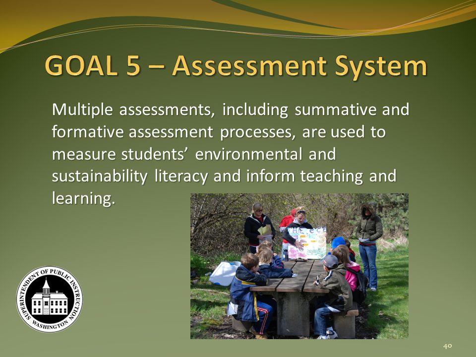 Multiple assessments, including summative and formative assessment processes, are used to measure students environmental and sustainability literacy and inform teaching and learning.