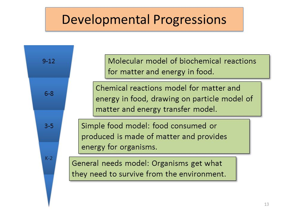 Chemical reactions model for matter and energy in food, drawing on particle model of matter and energy transfer model. Simple food model: food consume