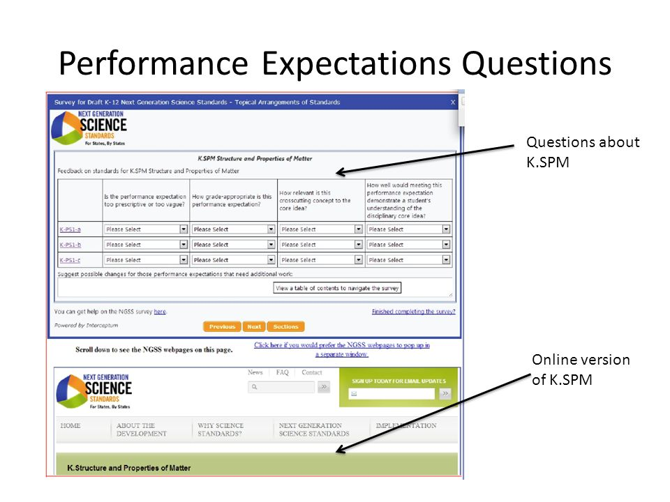 Performance Expectations Questions Questions about K.SPM Online version of K.SPM
