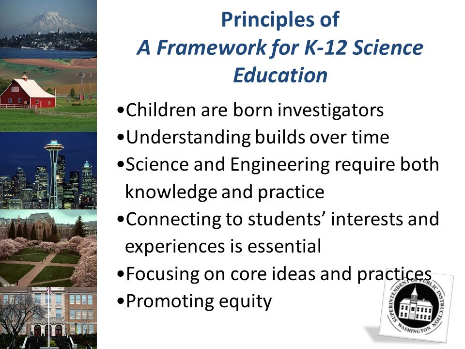 Principles of A Framework for K-12 Science Education Children are born investigators Understanding builds over time Science and Engineering require bo