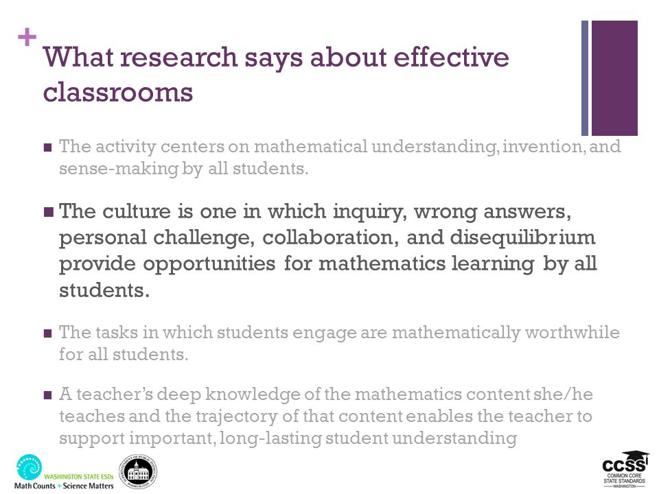 + What research says about effective classrooms The activity centers on mathematical understanding, invention, and sense-making by all students. The c