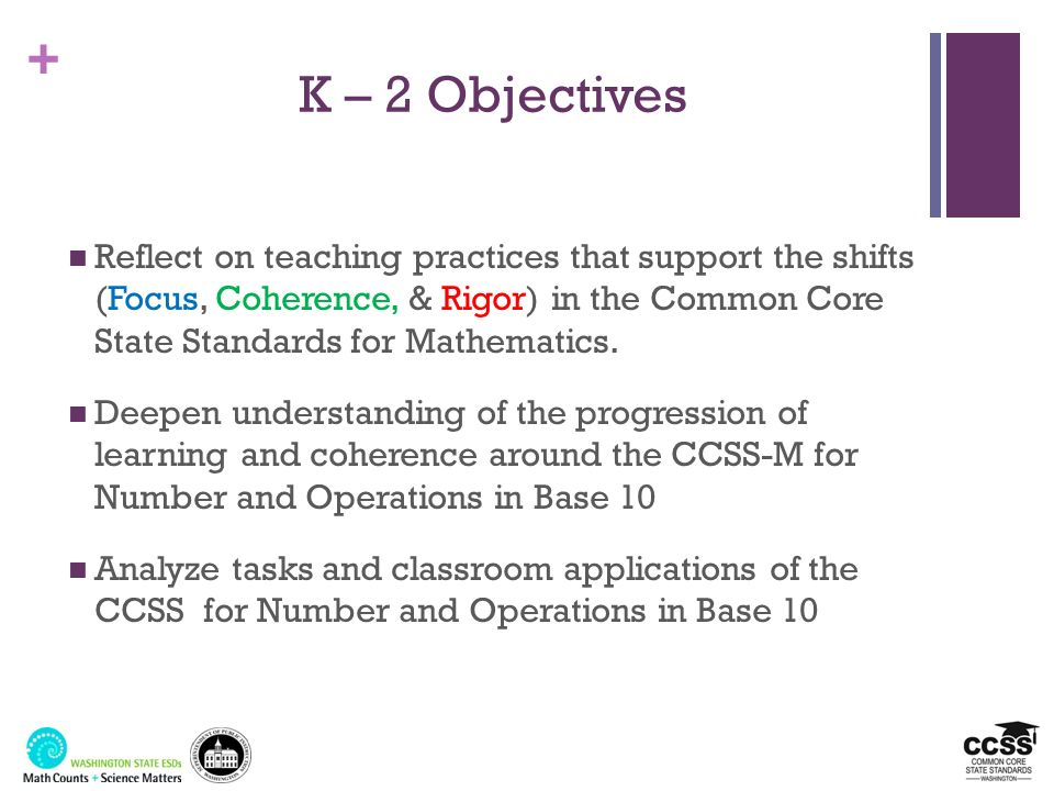 + Shift #1: Focus Key Areas of Focus in Mathematics GradeFocus Areas in Support of Rich Instruction and Expectations of Fluency and Conceptual Understanding K-2Addition and subtraction - concepts, skills, and problem solving and place value 3-5Multiplication and division of whole numbers and fractions – concepts, skills, and problem solving 6Ratios and proportional reasoning; early expressions and equations 7Ratios and proportional reasoning; arithmetic of rational numbers 8Linear algebra and linear functions