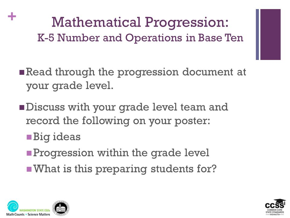 + Read through the progression document at your grade level. Discuss with your grade level team and record the following on your poster: Big ideas Pro