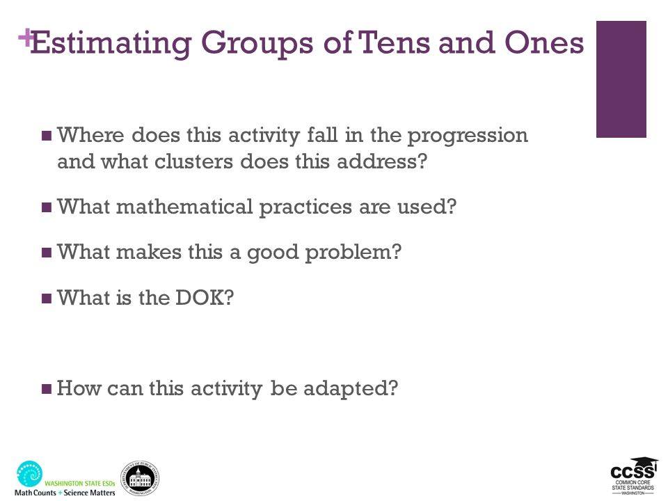 + Estimating Groups of Tens and Ones Where does this activity fall in the progression and what clusters does this address? What mathematical practices