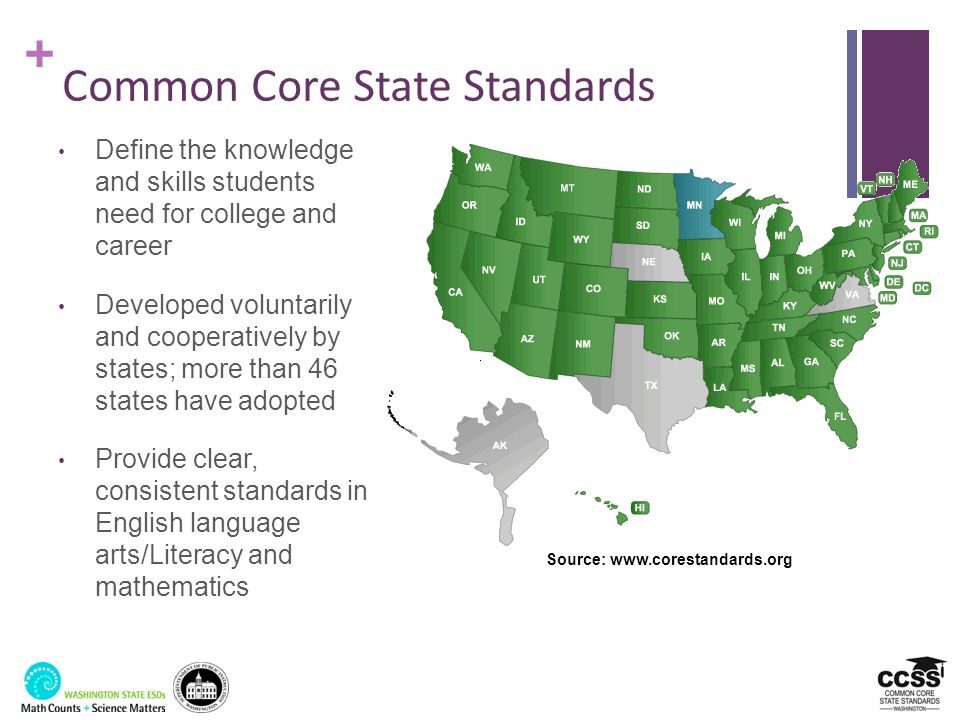 + Common Core State Standards Define the knowledge and skills students need for college and career Developed voluntarily and cooperatively by states;