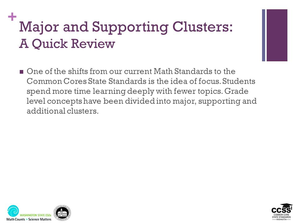 + Major and Supporting Clusters: A Quick Review One of the shifts from our current Math Standards to the Common Cores State Standards is the idea of f