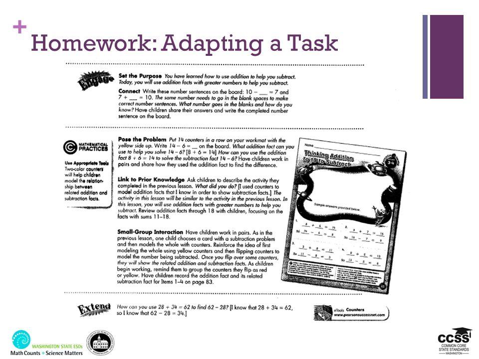 + Homework: Adapting a Task