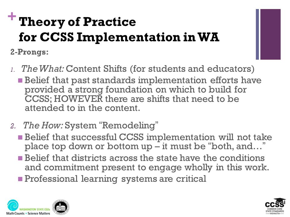 + WA CCSS Implementation Timeline 2010-112011-122012-132013-142014-15 Phase 1: CCSS Exploration Phase 2: Build Awareness & Begin Building Statewide Capacity Phase 3: Build State & District Capacity and Classroom Transitions Phase 4: Statewide Application and Assessment Ongoing: Statewide Coordination and Collaboration to Support Implementation