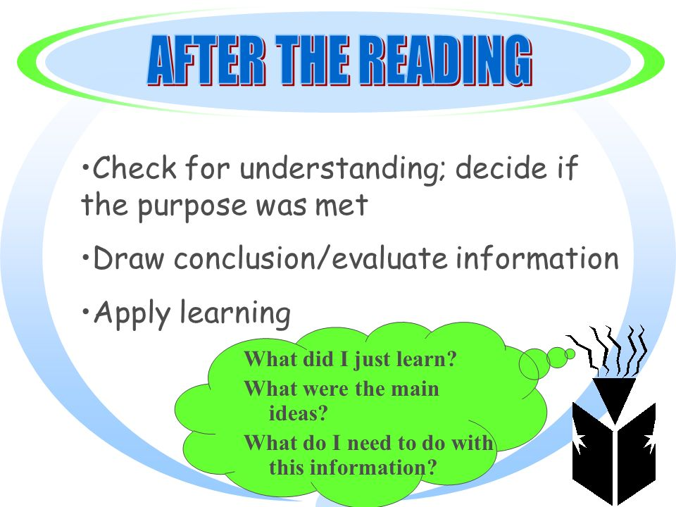 What did I just learn? What were the main ideas? What do I need to do with this information? Check for understanding; decide if the purpose was met Dr