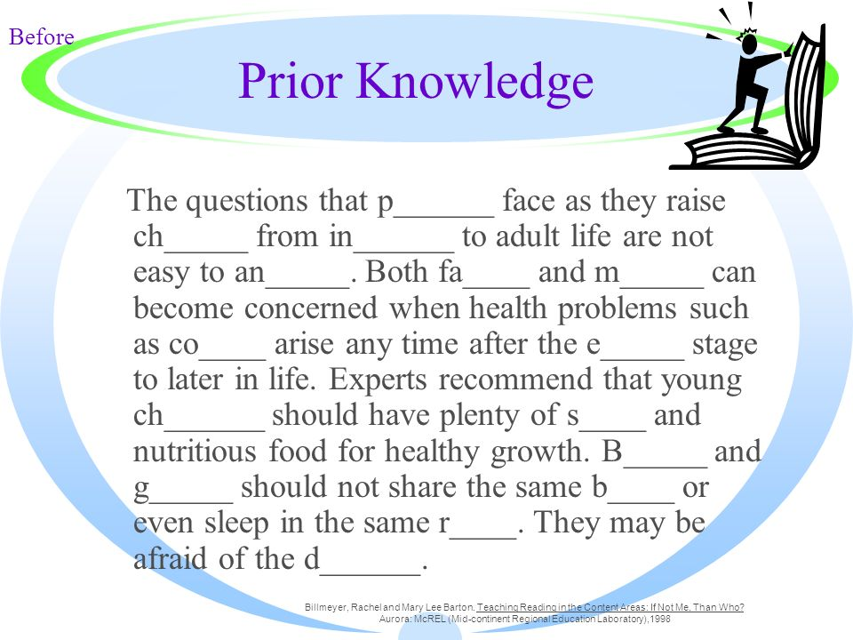 Prior Knowledge The questions that p______ face as they raise ch_____ from in______ to adult life are not easy to an_____. Both fa____ and m_____ can
