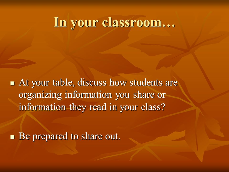 In your classroom… At your table, discuss how students are organizing information you share or information they read in your class? At your table, dis
