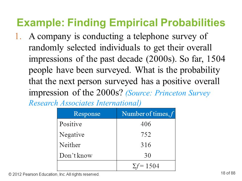 Example: Finding Empirical Probabilities 1.A company is conducting a telephone survey of randomly selected individuals to get their overall impression